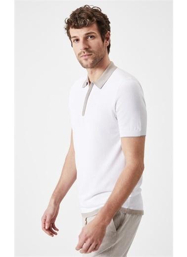 Boris Becker Boris Becker Kısa Kol Polo Yaka Yakası Fermuarlı  Erkek T-Shirt Beyaz
